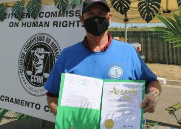 Jim Van Hill, Director of CCHR Sacramento, received recognition from California Assemblyman Ken Cooley for CCHR's support of Rancho Cordova's 31st Annual Kids Day in Park.